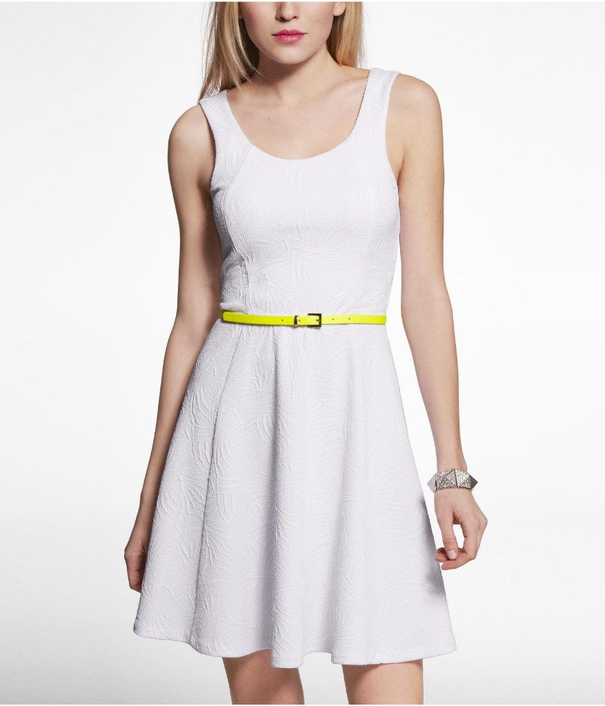 Express白色针织裙
