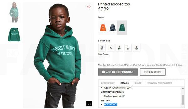H&M童装卫衣被指种族歧视