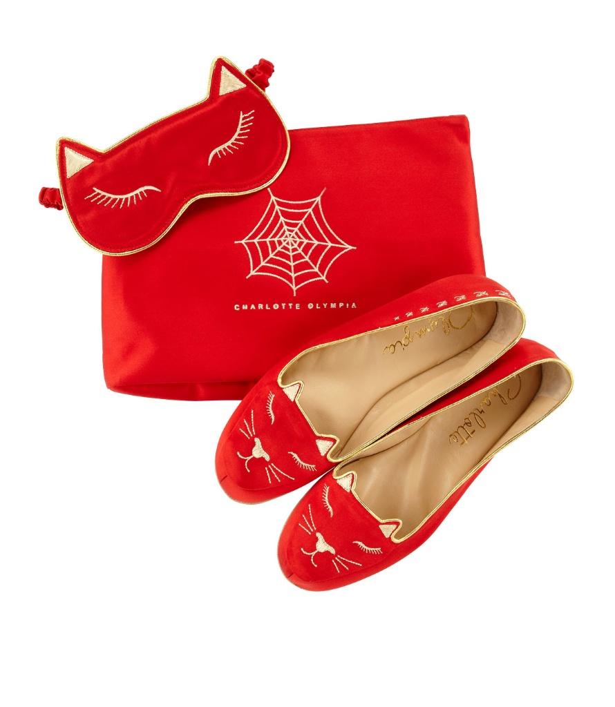 Charlotte Olympia 刺绣缎布拖鞋及眼罩套装
